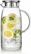 Glas Teekanne Liter Karaffe mit Deckel Glaskanne