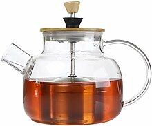 Glas-Teekanne mit Bambusdeckel und SUS304