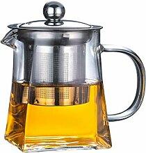 Glas-Teekanne mit Edelstahl-Teesieb und Deckel,