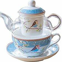 Glas Teekanne mit einem feinen China Infuser Sieb,