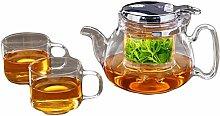 Glas-Teekanne mit Filter, elegante Tasse,