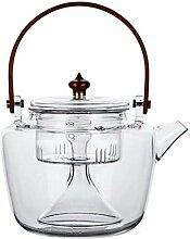 Glas-Teekanne mit herausnehmbarem Teesieb, 550 ml,
