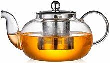 Glas-Teekanne mit Schwanenhals, Glaskrug mit