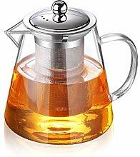 Glas-Teekanne mit Teesieb, Teekanne für Herd und