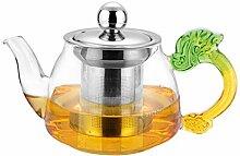 Glas Teekanne Teekessel 350ml grün handgemachte