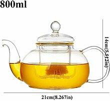 Glas Teekanne Teekessel Klare runde Glasteekanne