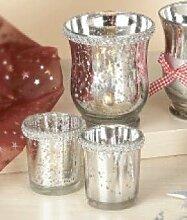 Glas Teelichthalter 3er Set. Weihnachtliche Dekoration! (Glasperlen Rand)