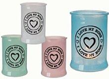 Glas Teelichthalter * I love my home *