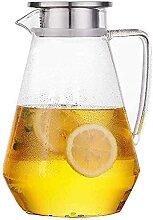 Glas tropffreier Krug mit Deckel Borosilikatglas