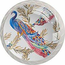 Glas-Türknäufe, Pfau, rund, mit Schraube, für