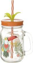 Glas Tukan mit Strohhalm aus Glas