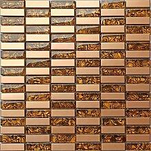 Glas und Edelstahl Mosaik Fliesen Matte in Gold