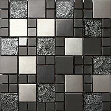 Glas und Edelstahl Mosaik Fliesen Matte in Schwarz