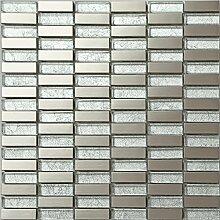 Glas und Edelstahl Mosaik Fliesen Matte in Silber