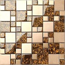 Glas und gebürstetem Edelstahl Mosaik Fliesen