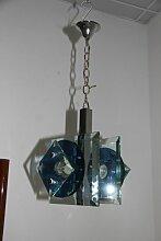 Glas und Metall Pendelleuchte von Veca, 1960er