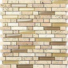 Glas und Naturstein Mosaik Fliesen Matte in Beige