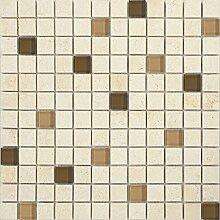 Glas und Naturstein Mosaik Fliesen Matte in Braun