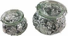 Glas Vase Set mit Silberflocken Füllung –