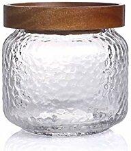 Glas Vorratsdose Flasche mit Sealed Holzdeckel