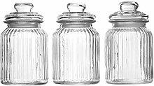 Glas Vorratsdose mit Deckel 3er-Set Dekorative