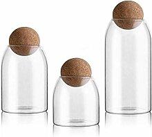 Glas Vorratsdose mit Holzdeckel Ball Clear