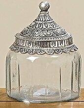 Glas Vorratsdose mit schöner Metallmontierung 15 cm 2 Modelle zurAuswahl, Modell:eckig