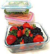 Glas-Vorratsdosen für Mahlzeiten mit Deckel,