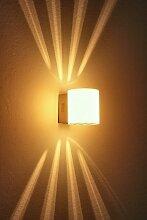 Glas Wandlampe in Weiß - Leselampe Wand mit Schalter - Metall Wand Leuchte mit 40 Watt G9-Fassung - Moderne Schlafzimmer Wandleuchte - Wand Lampe Flur