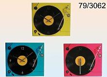 Glas-Wanduhr Plattenspieler, ca. 35x30 cm, 3 Farbausführungen, nicht wählbar