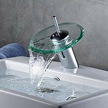 Glas Waschbecken Wasserhahn Wasserfall