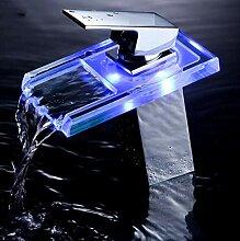 Glas Wasserfall LED Becken Waschbecken Wasserhahn