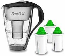 GLAS-Wasserfilter PearlCo (anthrazit) mit 3