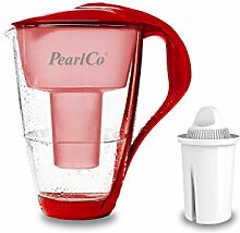 GLAS-Wasserfilter PearlCo (rot) mit 1 classic