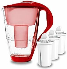 GLAS-Wasserfilter PearlCo (rot) mit 3 classic