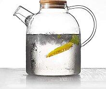 Glas Wasserkaraffe mit Bambusdeckel 1800ml Glas