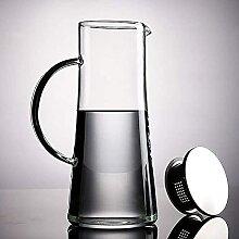 Glas Wasserkaraffe mit Edelstahldeckel 1500ml Glas