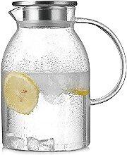 Glas Wasserkaraffe mit Edelstahldeckel 1800ml Glas