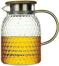 Glas Wasserkrug Saftkaraffe mit Edelstahldeckel
