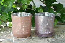 Glas Windlicht Home Shabby Vintage rosa, 2er Se