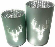 Glas Windlicht silber mit einem Hirschkopf