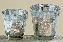 Glas Windlichtset Joyce silberfarben mit Glitzerrand Geschenkidee Teelichthalter