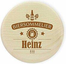 Glasabdeckung Holz Wunschname (z.B. Heinz) -