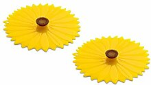 Glasabdeckung Silikondeckel Drink Covers, Sunflower Sonnenblume, 2er Set, Silikon