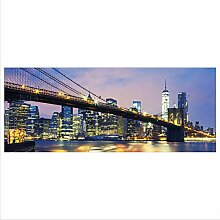 Glasbild 125x50 XL New York Blau Panorama Wandbild