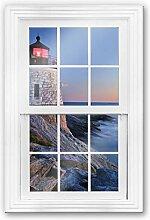 Glasbild 3D Fenster - Meerblick Küste Leuchtturm