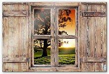 Glasbild 3D Holzfenster - Sonnenuntergang über