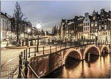 Glasbild Amsterdam - Glasspik Stadt East Urban Home