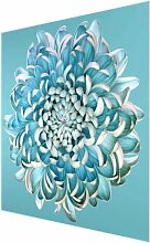 Glasbild Blaue Chrysantheme East Urban Home