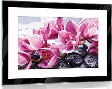 Glasbild Blumen in /Grau/Rosa/Lila 17 Stories